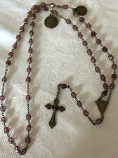 Stunning Amethyst Rosary w/Ornate Bronze Crucifix and 2 Very RARE Medals