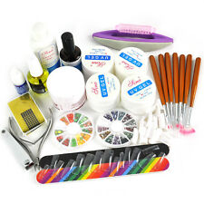 NAIL ART PRIMER ACRILICO POLVERE LIQUIDO TIPS strumento COMPLETO KIT UV TOP COAT SET COLLA