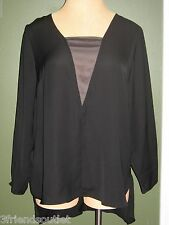 6TH & LN LANE BRYANT 26 Black Chiffon High Low Long Sleeve Blouse (26W 3X 4X)
