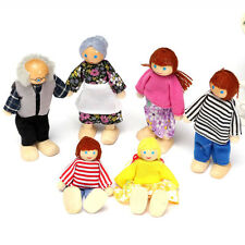NEW 6pcs SET FAMILY DOLLS WOODEN HOUSE FURNITURE KIDS TOYS GIRLS BOYS XMAS GIFT