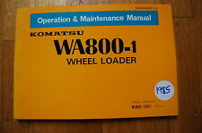 KOMATSU WA800-1 Wheel Loader Owner Operator Operation Maintenance Manual 1985