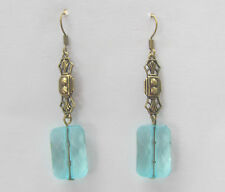 ART DECO STYLE EARRINGS RECTANGULAR TURQUOISE ACRYLIC CRYSTAL DARK GOLD PLATED