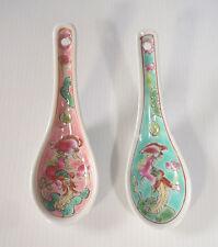 Chinese Jingdezhen Peranakan porcelain spoons pair famille rose phoenix motif c