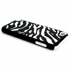 White Black Zebra Hybrid Case For Apple iPod Touch 5 Hard Rubber Armor Skin