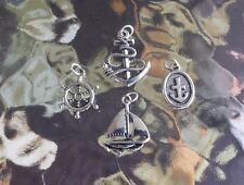 1 SHIP WHEEL, 2 ANCHOR, 1 SAIL BOAT JEWELRY 4 PIECES CHARMS or PENDANTS ALL NEW.