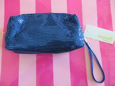 NEW - Capelli New York blue sequin zippered make up case