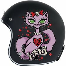 Torc Route 66 T50 Flat Black Lucky13 Bad Kitty Graphic 3/4 Open Face Helmet- SM