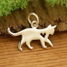 925 Sterling Silver Silhouette Cat Kitty Kitten Charm Pendant for Necklace