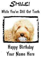 Labradoodle Dog Happy Birthday Card Smile Teeth 50  A5 Personalised Greeting
