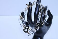 14K Yellow gold crystal and Black  Onyx Chain bracelet