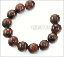 12 Large Red Tiger's Eye Round Beads ap. 15mm #28017