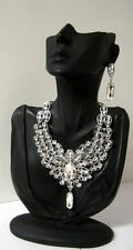 STATEMENT CRYSTAL PEACOCK FEATHER CHUNKY COLLAR JEWEL NECKLACE EARRING SILVER