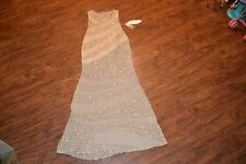 D0- Panoply Nude/Gold Slash Beading Silk Chiffon Dress Size 4