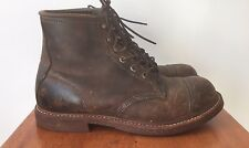 LL Bean Brown Leather Engineer Cap Steel Toe Lace Up Work Boots 9 D Vtg