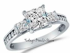 Brilliant Princess Cut Three stone Ring Anniversary Engagement 14k White Gold