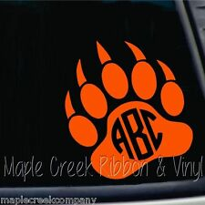 "Custom Vinyl Decal ~ Grizzly Paw Monogram ~ Choose a color ~ 6"" tall"