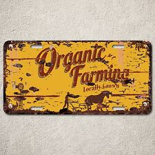 LP0100 Organic Farming Auto License Plate Rust Vintage Home Store Decor Sign