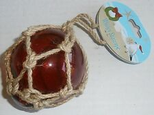 Nautical Christmas Ornament  FISHING FLOAT W/ JUTE ROPE  RED