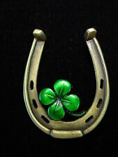 """JJ"" Jonette Jewelry Bronze Pewter '4-LEAF CLOVER & Horseshoe LUCK' Pin w/color"