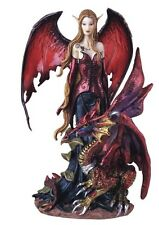 "8"" Inch Red Black Fairy with Dragon Statue Figurine Figure Fantasy Magical"