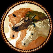 """WOOD INLAY: Wall Art / Hardwood Floor Medallion: 32"""" Three Horses Inlaid Art"""