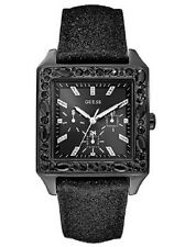 NEW AUTHENTIC Guess Ladies Black Leather Glitter SQUARE Watch u0049l2 ,WITH TAG