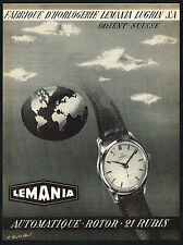 1950's Vintage 1953 Lemania Automatic Watch Mid Century Modern Art Print AD .