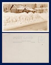 CANADA ONTARIO NOVAR THE LOG CABIN IN SNOW REAL PHOTO CIRCA 1948