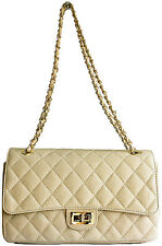 DESIGNER ITALIAN CREAM REAL GENUINE QUILTED LEATHER CHAIN HANDBAG CLUTCH BAG BNT