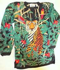 Vtg 90s Retro Hand Knit Signature Northern Isle Long Tunic Sweater TIGER Women M