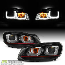 2010-2014 VW Golf/GTI Red Stripe Projector Headlights +LED DRL Tube Lamps 10-14