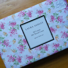 Laura Ashley PINK GREEN FLORAL 4p QUEEN BED SHEET SET Shabby Flower Sprig COTTON
