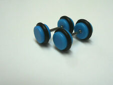 A PAIR BLUE ACRYLIC/ RUBBER  FAKE PLUG MENS  BARBELL EARRINGS 6MM.
