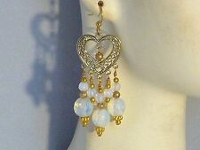 Gemstone Earrings - Mexican Opals with Gold-Plated Surgical Steel - chandeliers