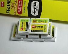 50 Blades Yellow Box FEATHER Double Edge Razor Blade Platinum Coated  From Japan
