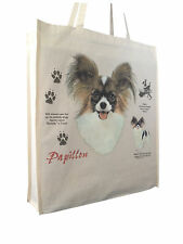 Papillon History Dog Cotton Shopping Bag with Gusset & Long Handles Perfect Gift