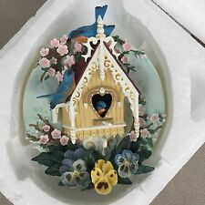 Bradford Exchange NESTING NEIGHBORS Our Gingerbread Cottage Bird Plate - New