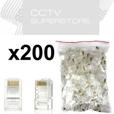 200 pcs RJ45 Network Modular Plug Cat5 CAT5e Connector Clear 8p8c Gold Plated