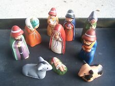 10-Piece Clay Traditional Tabletop Nativity Set - Peru