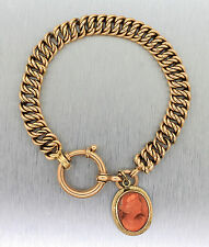 Ladies Antique 1920s 14K Yellow Gold Cameo Carved Portrait Charm Chain Bracelet