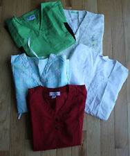 Mixed Lot of 5 Solid Bright & Patterned Ladies Scrub Tops Scrubs XS S M