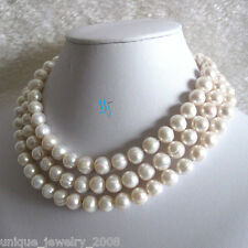 "48"" 10-11mm White Fresh Water Pearl Necklace Strand Jewelry"
