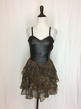 Vintage Women's Genuine Leather Corset Leopard Print Tiered Chiffon Dress Small