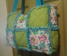 Owl Blue Green Pink Rag Quilt Purse Tote Baby Diaper Bag