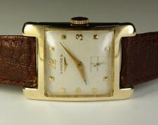 Longines 14K Solid Gold Rectangle 17J 23Z Vintage 1952 Swiss Dress Watch Leather