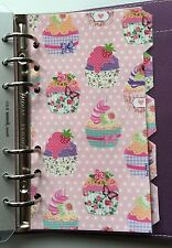 Filofax Personal Planner - Pretty Cupcake & Pink Spot Dividers - Fully Laminated