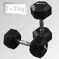 BodyRip 2 x 25kg HEXAGONALE HEX GUMMI ENCASED ERGO HANTEL GEWICHT WORKOUT