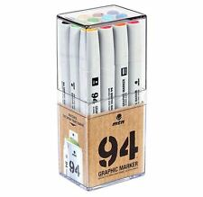 MTN 94 - GRAPHIC INK DRAWING MARKER PEN SET - 12 BASIC COLOURS