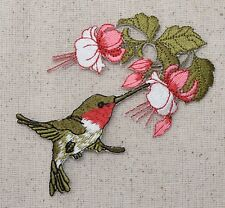 Iron On Embroidered Applique Patch Ruby Red Throat Hummingbird Flowers