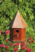 Heartwood Copper Songbird Bird House - Solid Mahogany With Shiny Copper Roof New